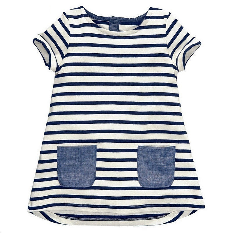 Spring/Summer Baby Girls Shortsleeve A-line Casual Dress with Stripe Pattern and Denim Pockets 1-6T - FOR MY LITTLE ANGELS