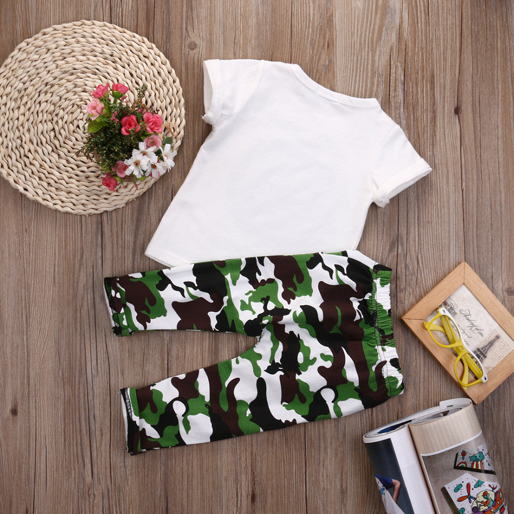Spring/Autumn Baby Boys Fashion Clothing Set with Printed Shortsleeve T Shirt and Camouflage Pants (2pcs) 1-4T - FOR MY LITTLE ANGELS