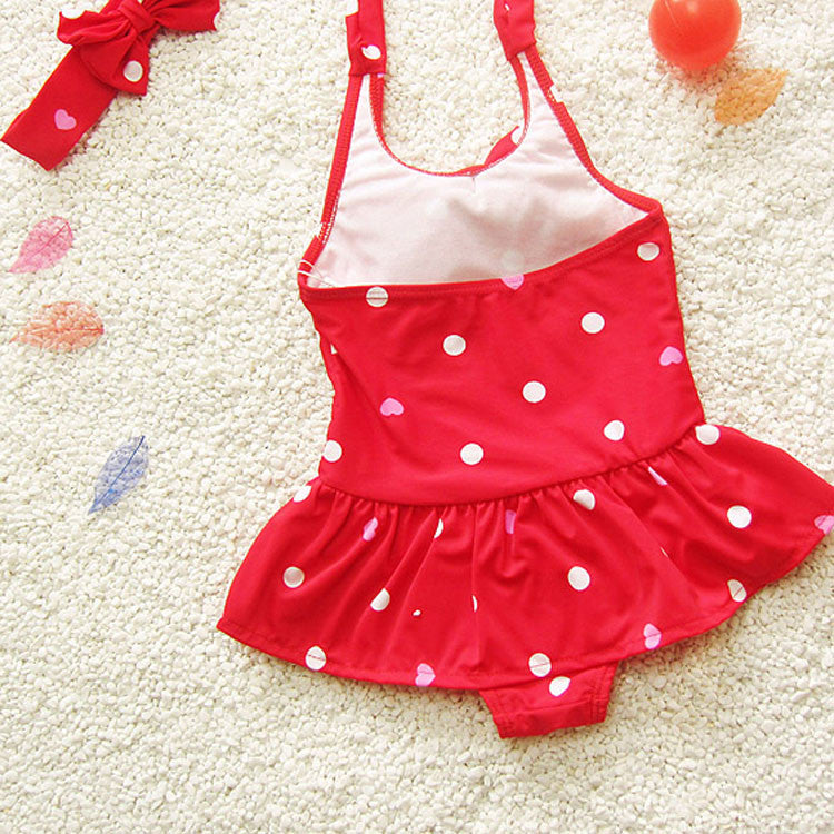 Spring/Summer One Piece Swimsuit for Baby Girls in Polka Dot Pattern with Tie Back Strap and Bow 2-9T - FOR MY LITTLE ANGELS