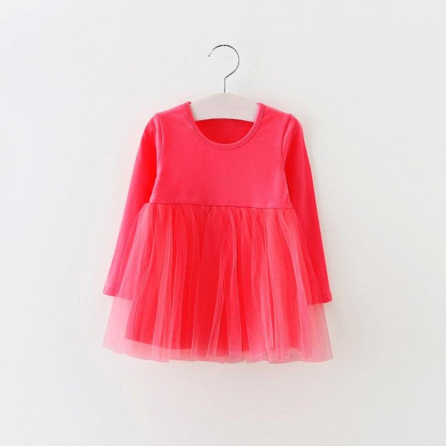 Spring/Summer Baby Girls Long Sleeve Dress with Cotton Top and Fluffy Mesh Bottom 1-4T - FOR MY LITTLE ANGELS
