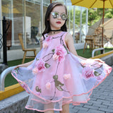 Spring/Summer Sleeveless Girls Dress with Flower Detail and Tulle Ball Gown 6-15T - FOR MY LITTLE ANGELS