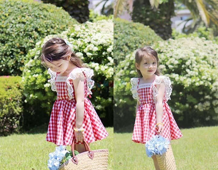 Princess Plaid Dress with Fly Sleeve and Elastic Lace for Girls 3-14T - More Colors Available - FOR MY LITTLE ANGELS