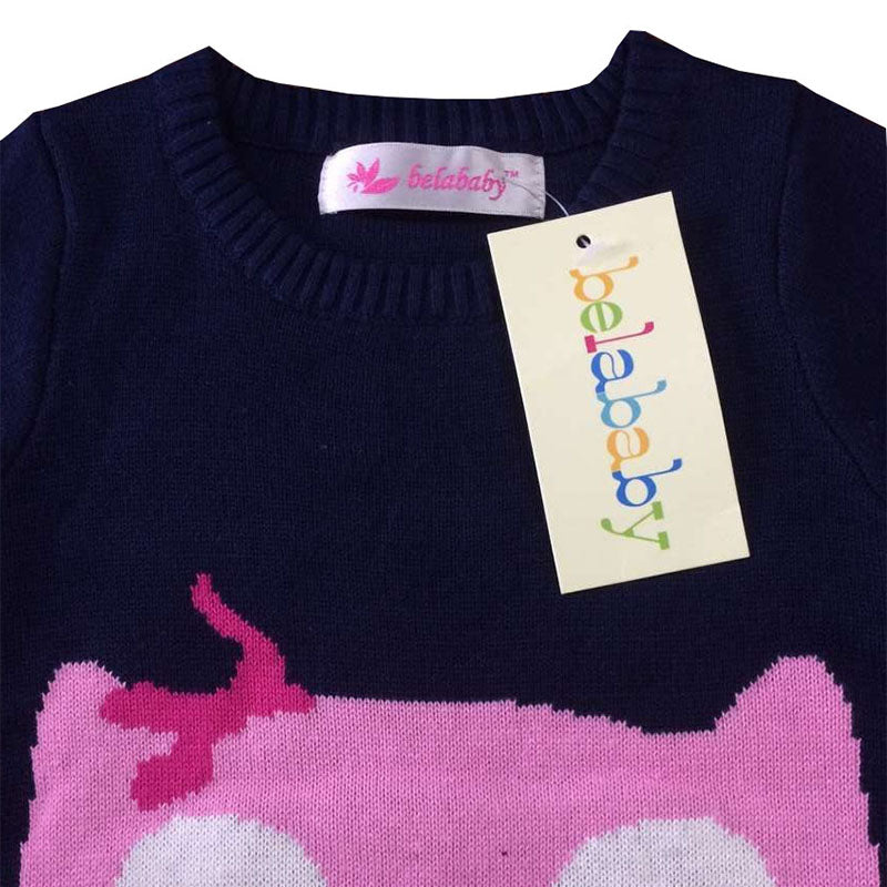 Autumn/Winter Baby Girl Longsleeve Pullover Knitted Sweater with Pink Owl 2-6T - FOR MY LITTLE ANGELS