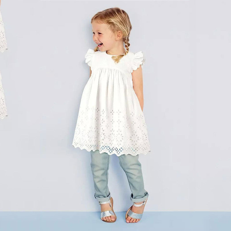 Spring/Summer Baby Girls Dress with Butterfly Sleeve and Lace Detail 2-7T - FOR MY LITTLE ANGELS