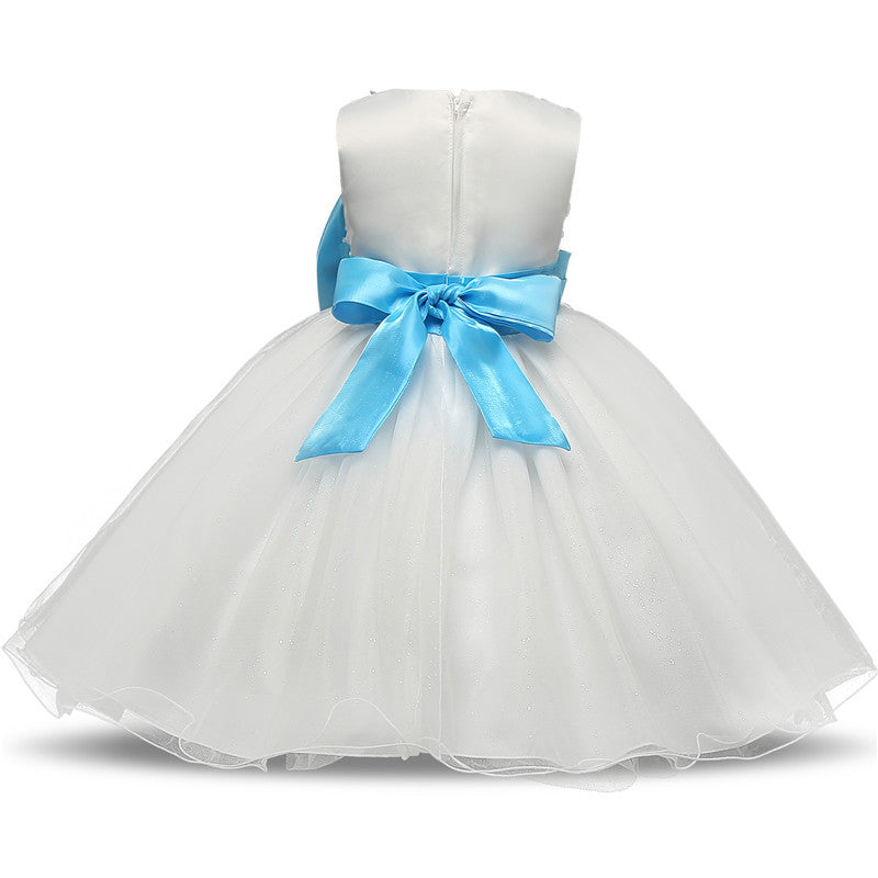 Sleeveless Flower Lace with Big Bow and Ball Gown Dress for Girls 3-11T - FOR MY LITTLE ANGELS