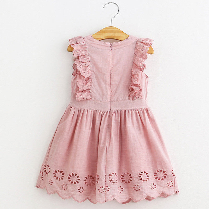 Spring/Summer Baby Girl Butterfly Sleeve Dress with Flower Details 1-5T - FOR MY LITTLE ANGELS
