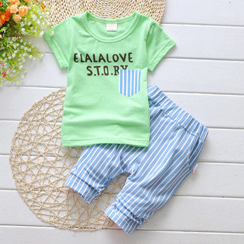 Summer Baby Boys Casual Clothing Set with Shortsleev Tshirt and Sweatpants (2pcs) 1-5T - FOR MY LITTLE ANGELS