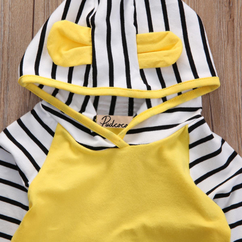 Autumn/Winter Unisex Newborn Baby Clothing Set with Stripe Hooded Sweatshirt and Stripe Sweatpants (2pcs) 0-3T - FOR MY LITTLE ANGELS