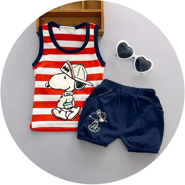 Spring/Summer Baby Boys Casual Clothing Set with Sleeveless Printed T Shirt and Pattern Shorts (2pcs) 1-3T - FOR MY LITTLE ANGELS