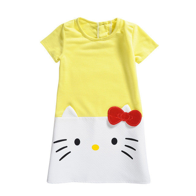 Spring/Summer Baby GIrls Shortsleeve A-line Dress with Hello Kitty Print 2-10T - FOR MY LITTLE ANGELS