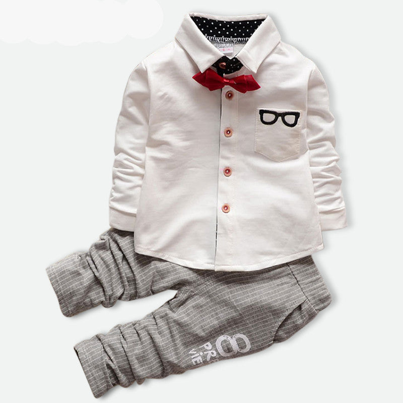 Autumn Baby Boys Clothing Set with Long Sleeve Bow Tie T Shirt and Pants 18M-4T - FOR MY LITTLE ANGELS