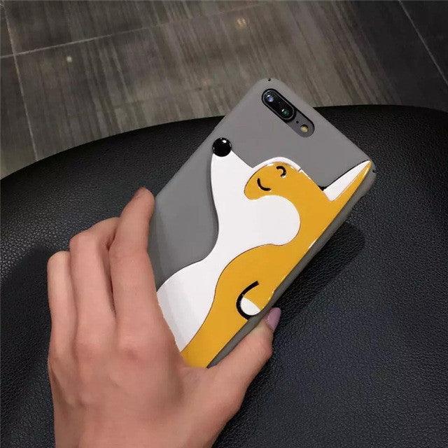 Cute Grey/Black Phone Case with 3D Corgi Dog for Ip6/6s/6plus Ip7/7plus - FOR MY LITTLE ANGELS