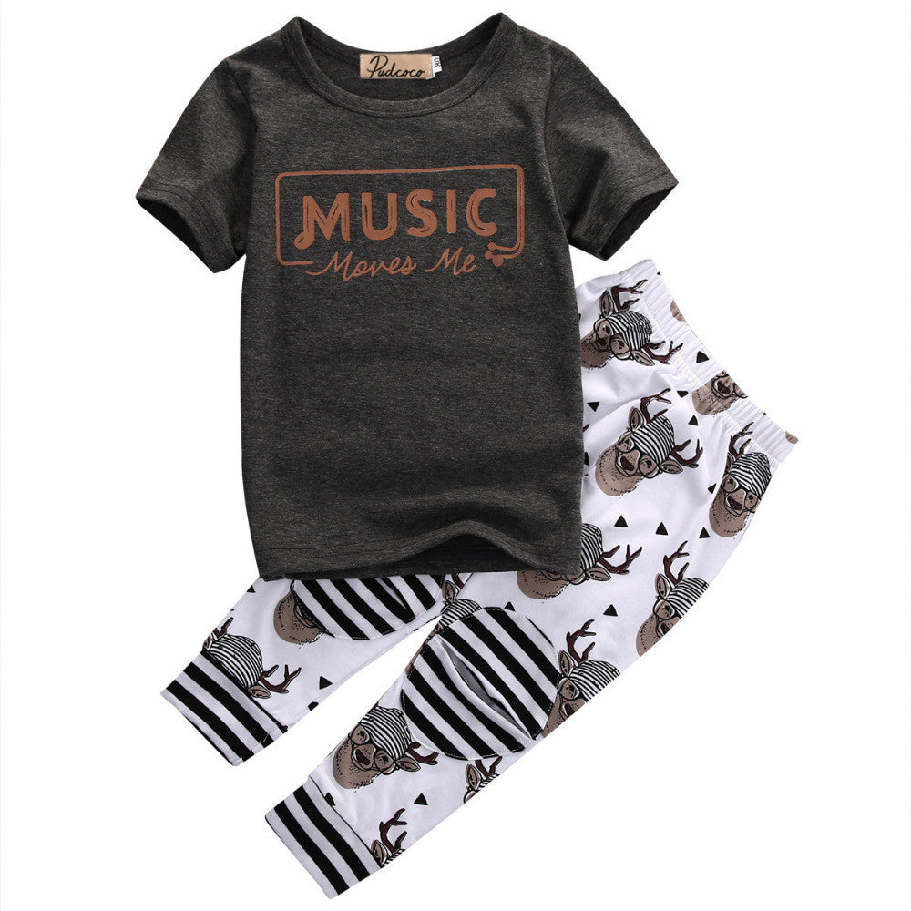 Spring/Summer Baby Boys Casual Clothing Set with Shortsleeve T Shirt and Printed Long Pants (2pcs) 1-5T - FOR MY LITTLE ANGELS