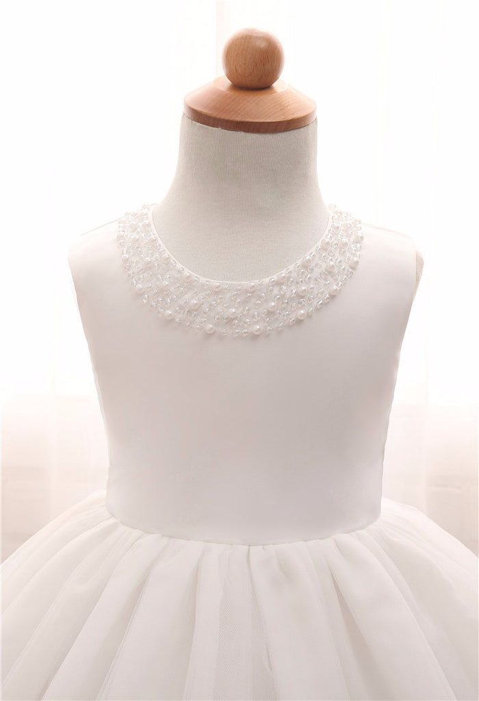 White Dress in Princess Design for Infant Kids - 0-24M - FOR MY LITTLE ANGELS