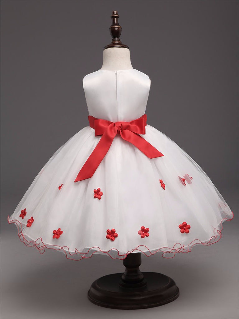 Baby Girls Dress in Princess Design with Red Flowers - 3-8T - FOR MY LITTLE ANGELS