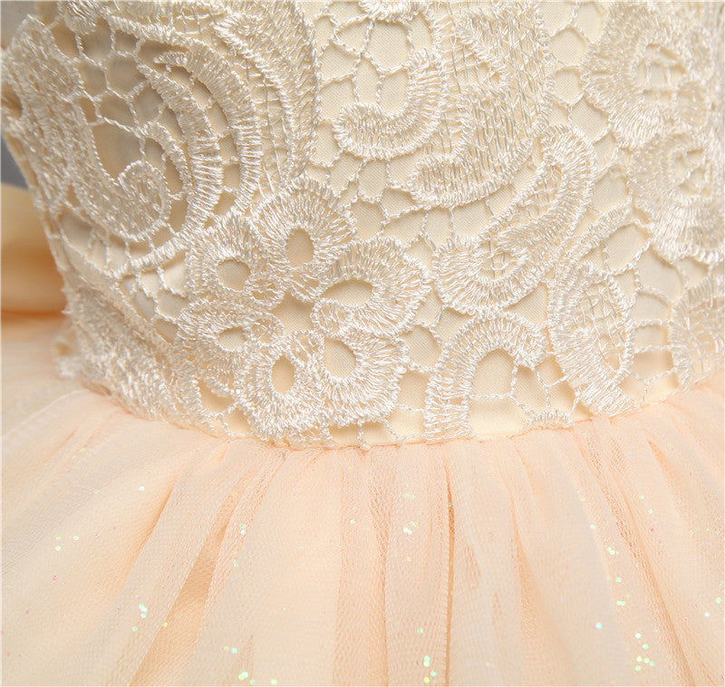Baby Girl Princess Designs Dress with Bow - 3-8T - FOR MY LITTLE ANGELS