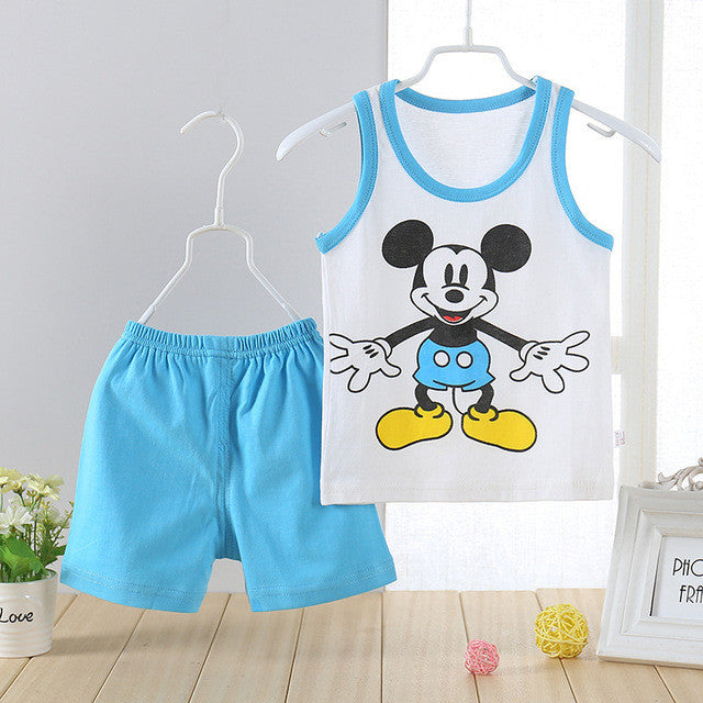 Spring/Summer Baby Boys Casual Clothing Set with Sleeveless Cartoon Animals Printed T Shirt and Shorts (2pcs) 1-3T - FOR MY LITTLE ANGELS