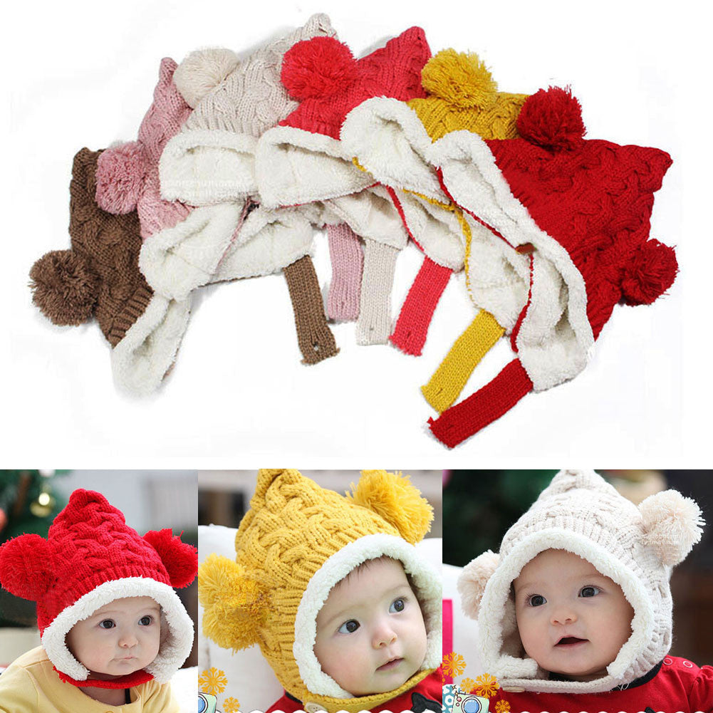 Autumn/Winter Cute Kid Soft Knitting Wool Bear Beanie with Fur Ball - FOR MY LITTLE ANGELS