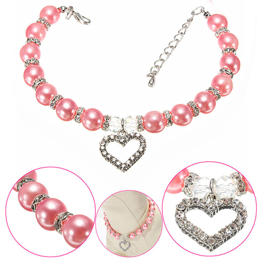 Pearl Necklace for Pets with Heart Rhinestone Pendant - FOR MY LITTLE ANGELS
