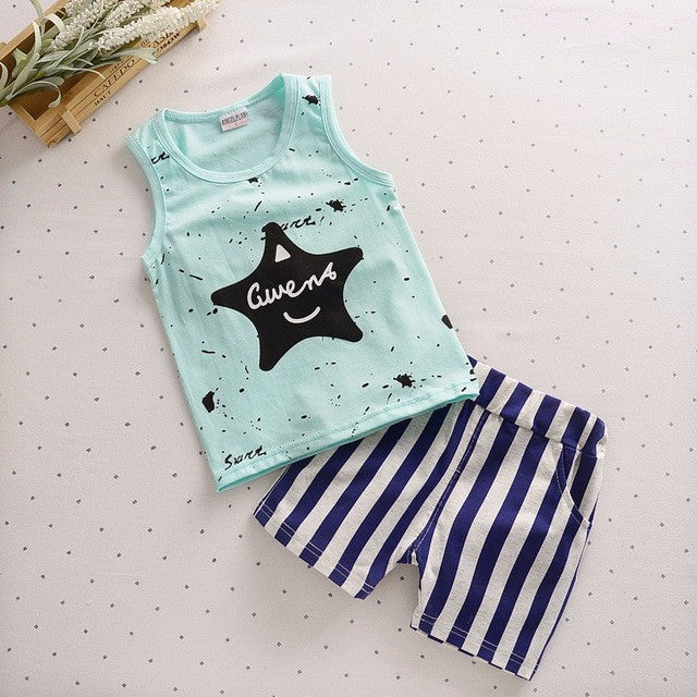Spring/Summer Baby Boys Casual Clothing Set with Sleeveless/Shortsleeve Star Printed T Shirt and Printed Long Pants (2pcs) 1-4T - FOR MY LITTLE ANGELS