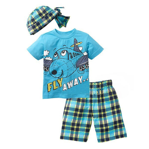 Spring/Summer Baby Boys Casual Clothing Set with Printed Shortsleeve T Shirt, Pattern Shorts and Matched Hat (3pcs) 2-6T - FOR MY LITTLE ANGELS