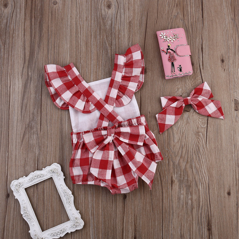 Spring/Summer Baby Girl Romper in Gingham Pattern with Butterfly Sleeve and Matched Headband (2pcs) 0-18M - FOR MY LITTLE ANGELS