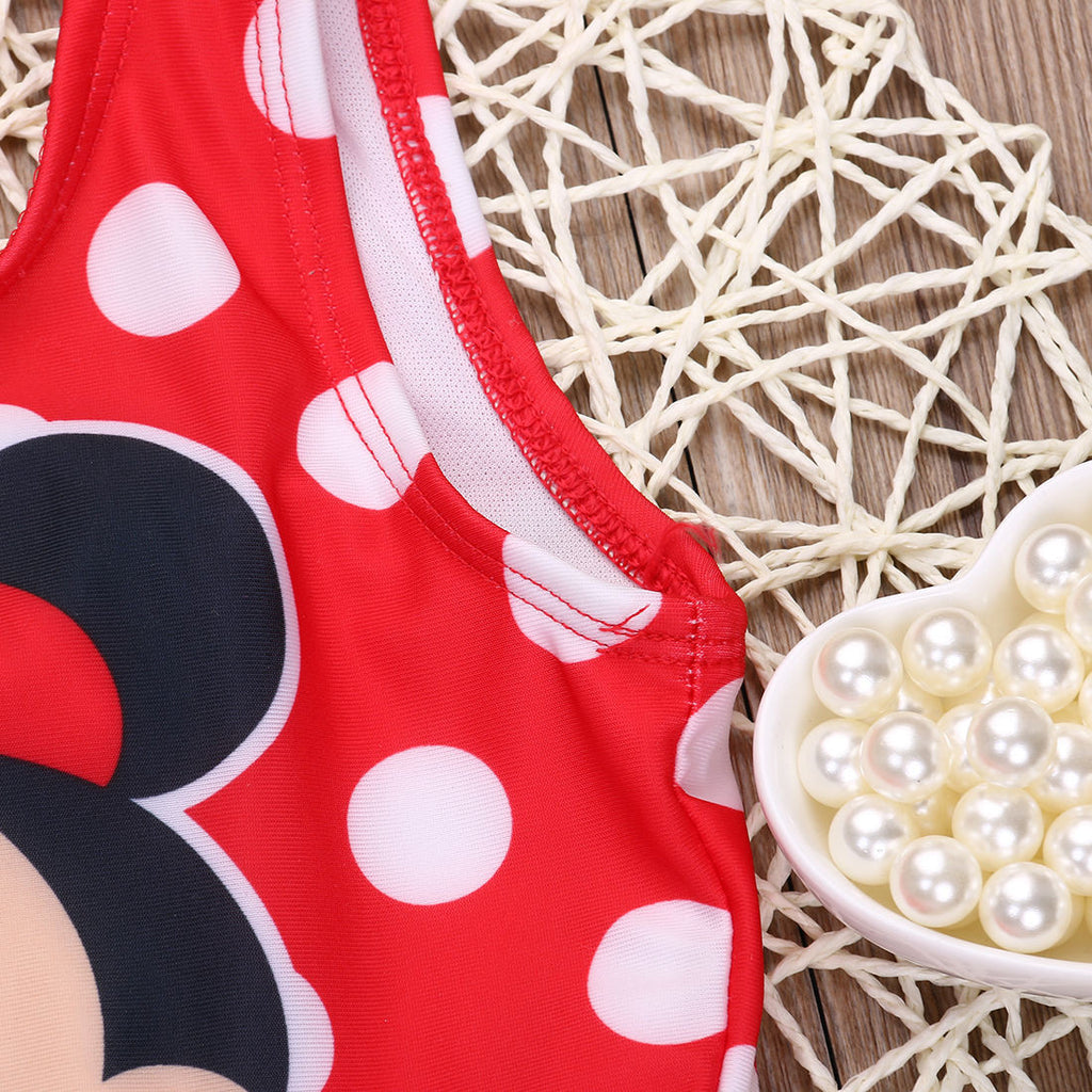 Summer Sleeveless Swimsuit for Baby Girls with Mickey Mouse Print and Soft Mesh Detail - FOR MY LITTLE ANGELS