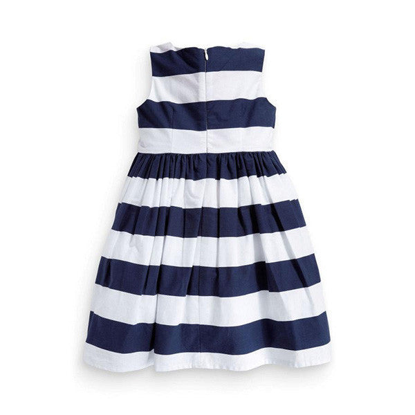 Spring/Summer Baby Girls Sleeveless Dress with Stripe Pattern and Bow 1-5T - FOR MY LITTLE ANGELS