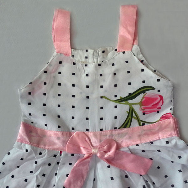 Spring/Summer Baby Girls Sleeveless Dress with Polka Dot and Floral Print and Mini Bow 2-6T - FOR MY LITTLE ANGELS