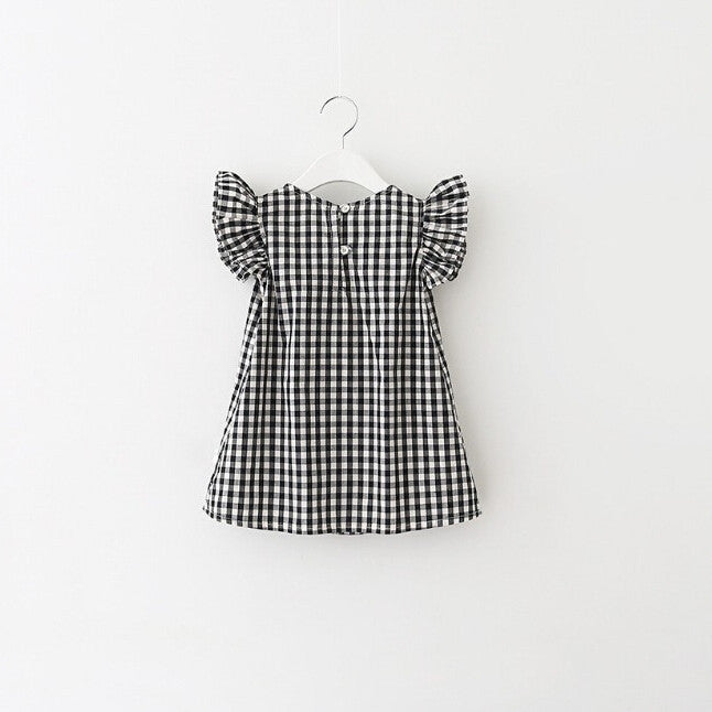 Spring/Summer Baby Girl Dress with Butterfly Sleeve and Gingham Pattern 3-7T - FOR MY LITTLE ANGELS