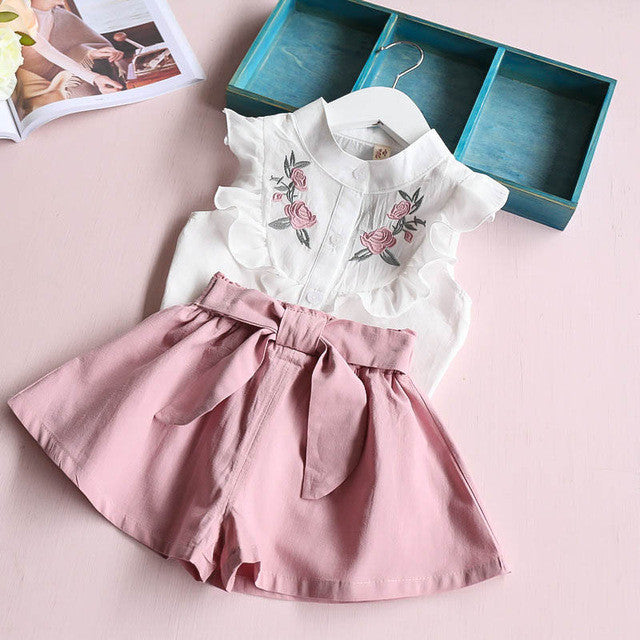 Spring/Summer Baby Girl Clothing Set with Flower Embroided Shirt and Bow Shorts (2pcs) 2-7T - FOR MY LITTLE ANGELS