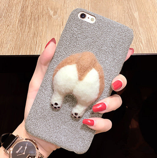 Cute Corgi Dog and Cat Butt Phone Case with Handmade Needle Wool for  IP6/6s/6+/7/7s/7+
