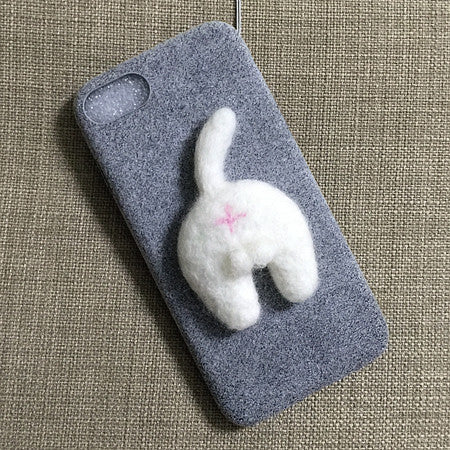 Cute Corgi Dog and Cat Butt Phone Case with Handmade Needle Wool for IP6/6s/6+/7/7s/7+ - FOR MY LITTLE ANGELS