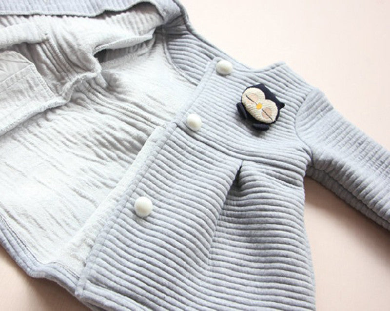 Autumn/Winter Baby Girl Thick Button Up Jacket with Little Penguin 3-8T - FOR MY LITTLE ANGELS