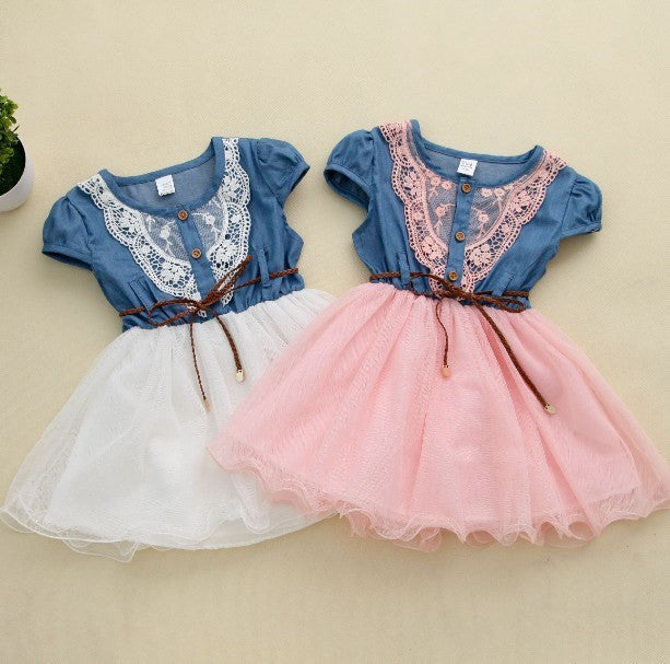 Spring/Summer Baby Girls Shortsleeve Dress with Lace Detail and Soft Tulle Bottom 2-6T - FOR MY LITTLE ANGELS