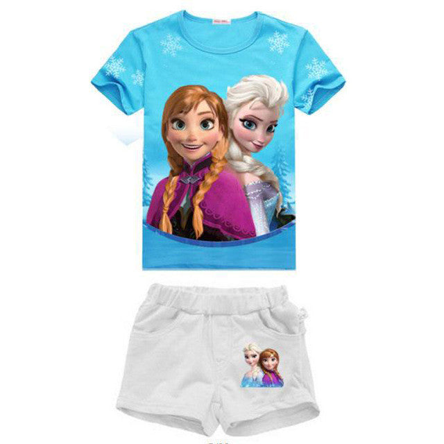 Spring/Summer Baby Girls Casual Clothing Set with Moana/Elsa Cartoon Character Printed T Shirt and Shorts (2pcs) 2-8T - FOR MY LITTLE ANGELS