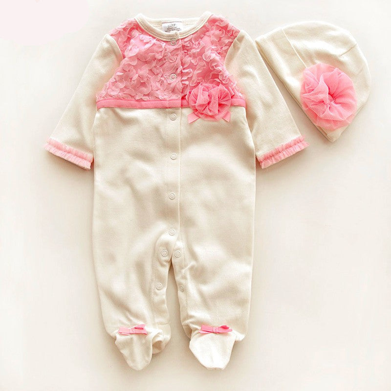 Long Rompers with Flowers Detail and Headband for Newborn Baby Girls (2pcs) 0-9M - FOR MY LITTLE ANGELS