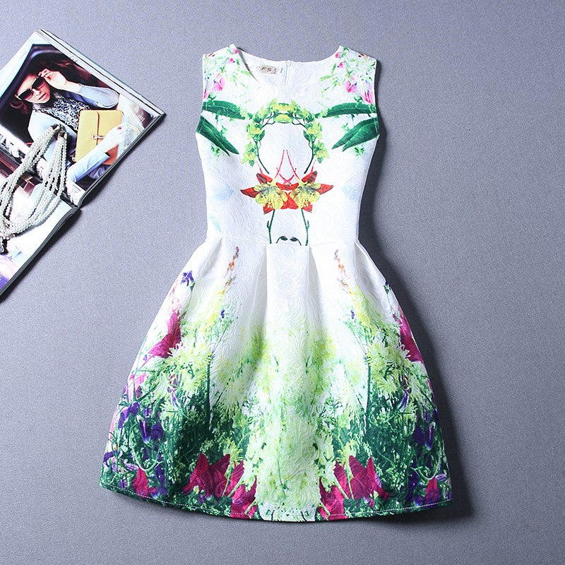 Summer Patterned Princess Dress for Girls 5-12T - FOR MY LITTLE ANGELS