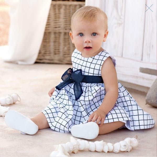 Spring/Summer Baby Girl Sleeveless Dress in Checked Pattern and Bow Knot 2-5T - FOR MY LITTLE ANGELS