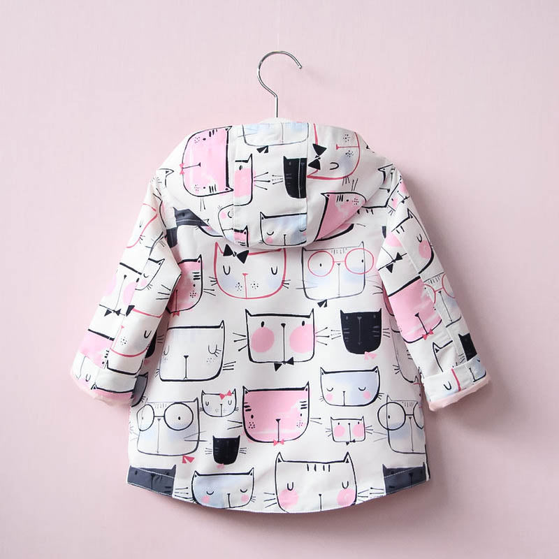 Spring/Autumn Hooded Jacket for Girls with Cat Printed Pattern 18M-6T - FOR MY LITTLE ANGELS