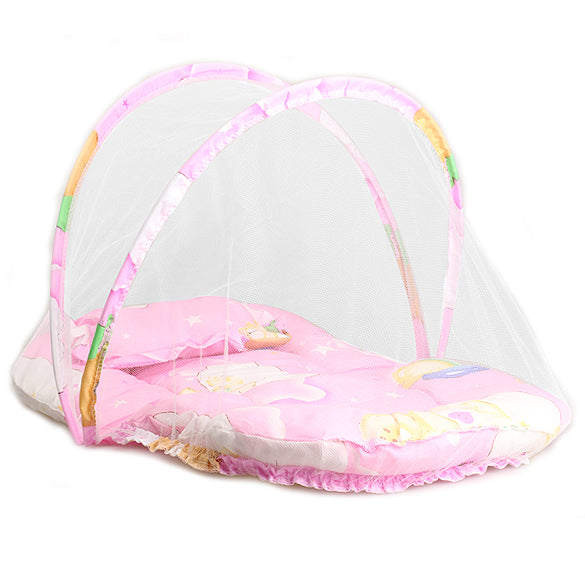 Baby Portable Folding Bed with Pillow + Cushion Mattress and Anti-Mosquito Net - FOR MY LITTLE ANGELS