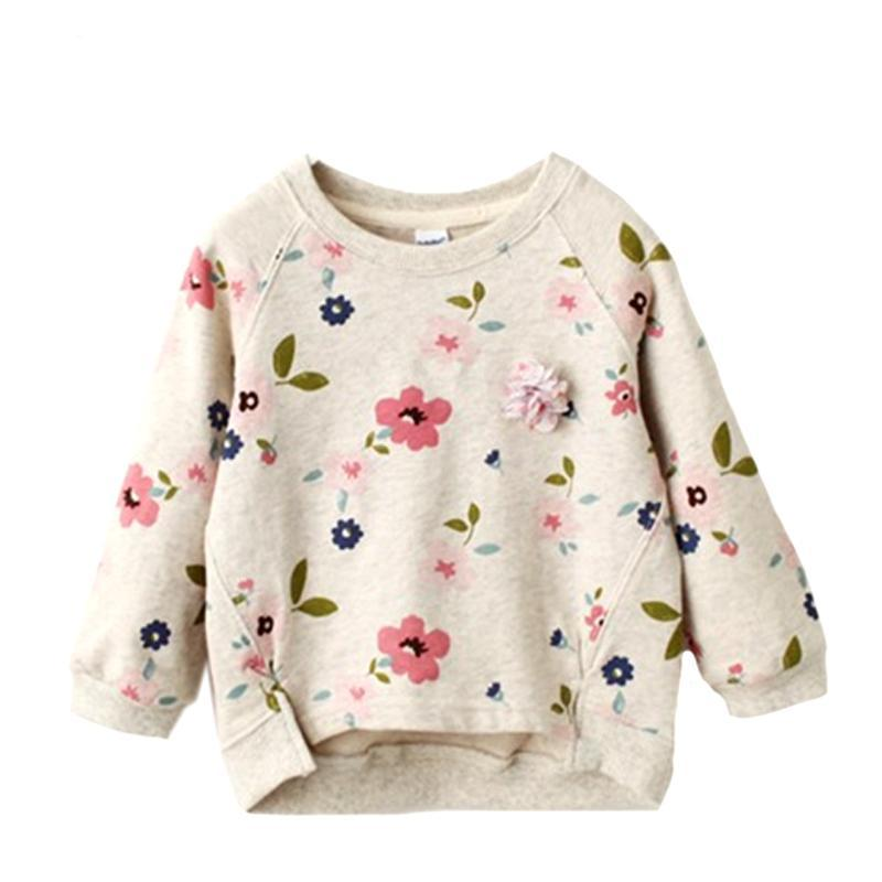 Autumn/Winter Baby Girl Longsleeve Sweatshirt with Floral Pattern and Flower 2-7T - FOR MY LITTLE ANGELS