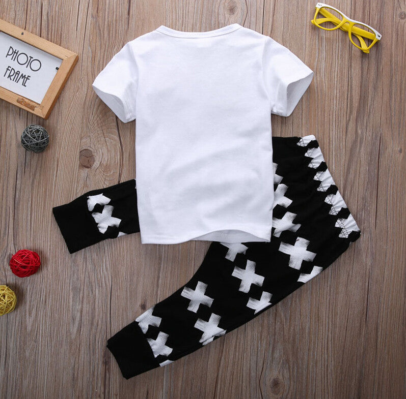 Spring/Summer Casual Unisex Baby Clothing Set with Shortsleeve T Shirt and Printed Pants (2pcs) 9M-4T - FOR MY LITTLE ANGELS