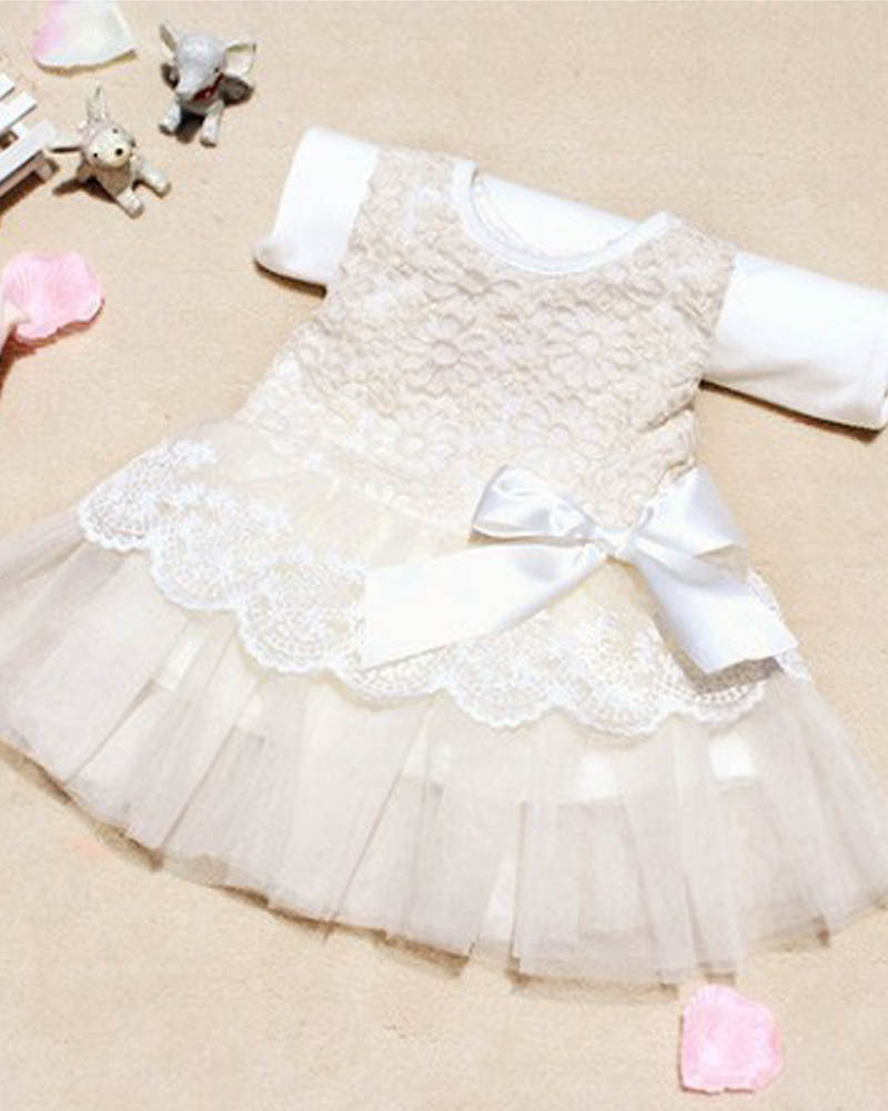 Spring/Summer Infant Baby Girls Sleeveless Dress with Lace Detail and Bow 0-24M - FOR MY LITTLE ANGELS