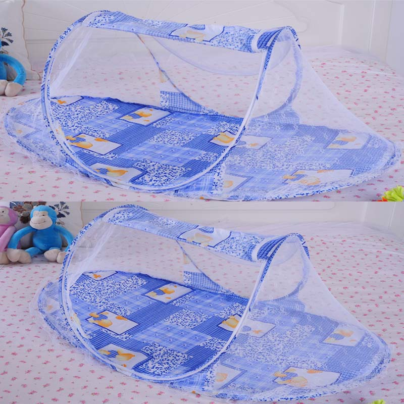 Baby Portable Folding Bed with Cushion Mattress and Polyester Anti-Mosquito Mesh Net - FOR MY LITTLE ANGELS