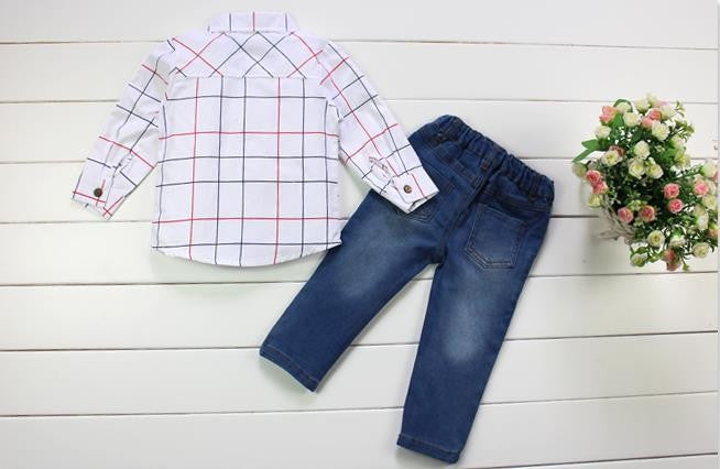 Gentlemen Baby Boys Cowboy Suit with Plaid Shirt and Denim Pants for 2-7T (2 pieces) - FOR MY LITTLE ANGELS