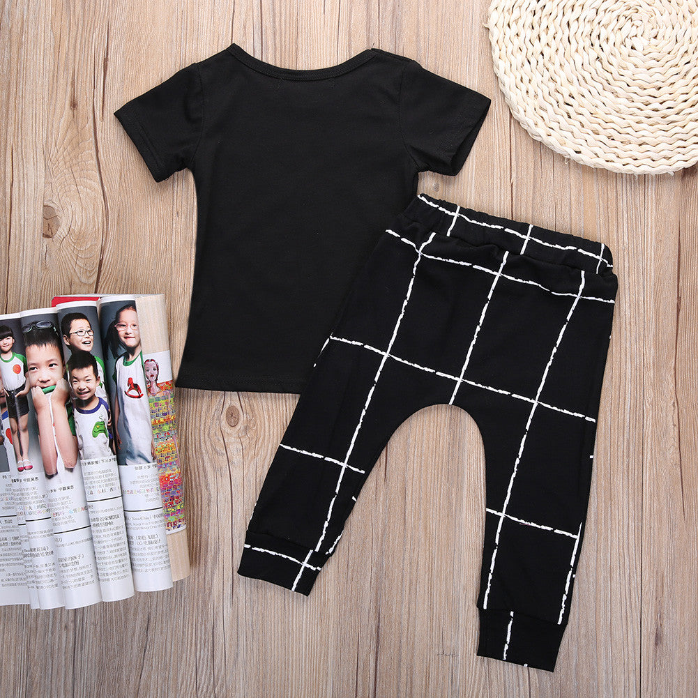 Spring/Summer Casual Baby Boys Clothing Set with Printed Shortsleeve T Shirt and Long Pants (2pcs) 3-24M - FOR MY LITTLE ANGELS