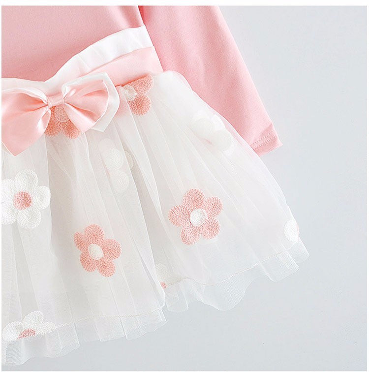Elegant  Flowers Tulle Bow Long Sleeve Dress for Baby Girls 4-24M - FOR MY LITTLE ANGELS