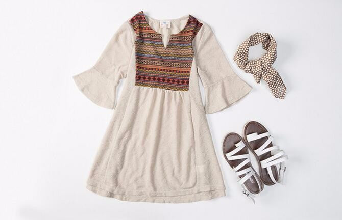 Bohemian Dress for Girls with Embroided Neck Details and Flared Sleeve for 7-13T - FOR MY LITTLE ANGELS