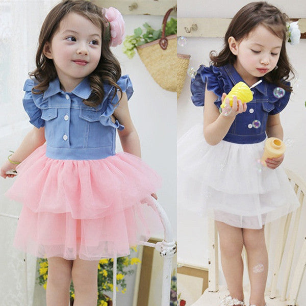 Spring/Summer Baby Girl Dress with Denim Top and Soft Mesh Bottom (1pc) 2-6T - FOR MY LITTLE ANGELS